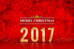 Nombre du Joyeux Noël 2017 aux lumières de scintillement rouges de bokeh, congé photographie stock libre de droits