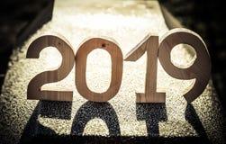 Nombre en bois 2019 Bonne année 2019 image libre de droits