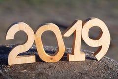 Nombre en bois 2019 Bonne année 2019 image stock