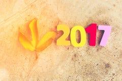 Nombre en bois de 2017 pour des célébrations de nouvelle année Photographie stock libre de droits