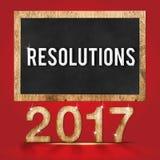 nombre en bois de texture de 2017 résolutions avec le mot de buts sur le tableau noir Images libres de droits