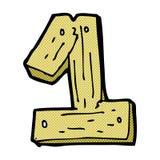 nombre en bois un de bande dessinée comique Images stock
