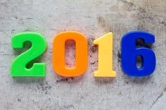 nombre 2016 en plastique coloré Images stock