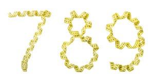 Nombre fait à partir de la bande jaune de centimètre Sept d'isolement, huit, Photo libre de droits