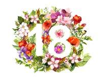 Nombre floral 18 dix-huit des fleurs et de l'herbe watercolor illustration de vecteur