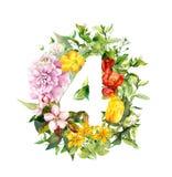 Nombre floral 4 - quatre des fleurs Chiffre d'aquarelle illustration stock