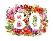 Nombre floral 80 quatre-vingts des fleurs sauvages et de l'herbe de pré Aquarelle pour la carte d'anniversaire illustration libre de droits