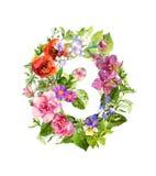 Nombre floral 3 - trois des fleurs Illustration d'aquarelle illustration libre de droits