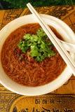 Comida taiwanesa de la calle - fideos del arroz con las ostras Foto de archivo