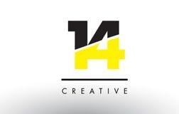 14 nombre noir et jaune Logo Design Image stock