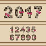 nombre 2017 réglé avec le ruban rouge Image libre de droits