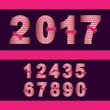 nombre 2017 réglé avec le ruban rouge Photos libres de droits