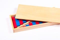 Nombre Rods de Montessori réglés dans une boîte Photographie stock libre de droits