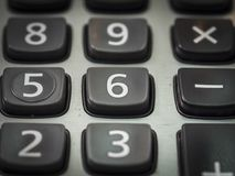 nombre sur la calculatrice 6 dans la fin Images libres de droits