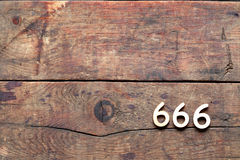 Nombre 666 sur le bois Photos libres de droits