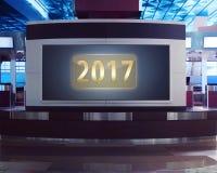 nombre 2017 sur le compteur à l'aéroport Images libres de droits