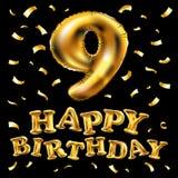 Nombre unique neuf de vecteur ; alphabet de 9 lettres fait de ballon réaliste d'hélium de l'or 3d Illustration de collection de n Photographie stock libre de droits