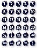 Nombres blancs de boutons ronds noirs de Chrome et d'autres symboles Photo stock