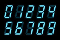 Nombres bleus de Digital pour l'écran électronique d'affichage à cristaux liquides Photo libre de droits