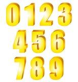 nombres brillants de l'or 3D réglés Photos libres de droits