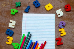 Nombres, carnet, stylos Image libre de droits