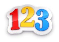 Nombres colorés 123 sur le fond blanc Images libres de droits