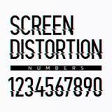 Nombres d'alphabet de déformation d'écran Photographie stock libre de droits