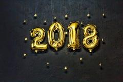 2018, nombres d'or, année gonflable et nouvelle, pierre, fond, murent la nouvelle année Image libre de droits