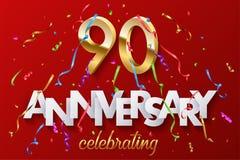 90 nombres d'or et anniversaire célébrant le texte avec la serpentine colorée et les confettis sur le fond rouge Vecteur illustration stock