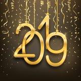 Nombres 2019 d'or réalistes et confettis de carte postale de bonne année