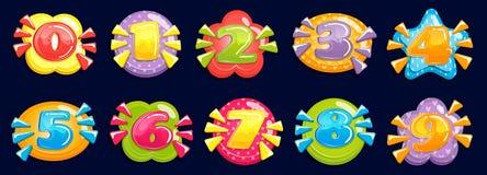 nombres de bande dessin?e Le nombre potelé drôle, carte d'anniversaire d'enfant a coloré des années et le nombre dans l'illustrat illustration stock