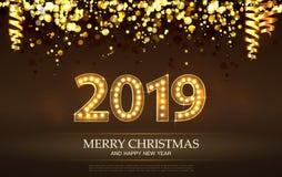 2019 nombres de compte pendant Noël et la bonne année de carte de voeux le Joyeux illustration de vecteur