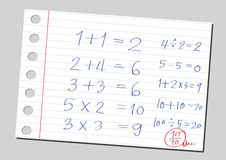 Nombres de croquis et symboles de mathématiques Image stock
