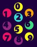 Nombres de 0 jusqu'au noir d'isolement par échantillon de 9 couleurs illustration stock