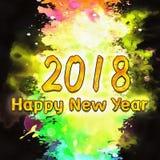 Nombres de l'aquarelle 2018 Photographie stock libre de droits