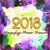 Nombres de l'aquarelle 2018 Photo stock