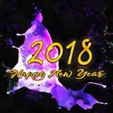 Nombres de l'aquarelle 2018 Photos libres de droits