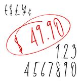 Nombres de lettrage de Ballpen et symboles monétaires Photo libre de droits