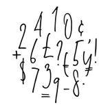 Nombres de lettrage de Ballpen, ponctuation, devise Illustration Stock