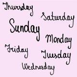 nombres de los días de la semana stock de ilustración