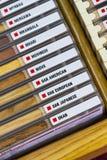 Nombres de madera y muestra Fotografía de archivo