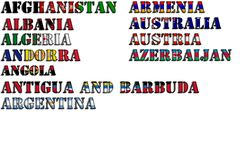 Nombres de país en colores de banderas nacionales Imagen de archivo
