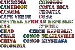 Nombres de país en colores de las banderas nacionales - conjunto completo Letra C Fotografía de archivo