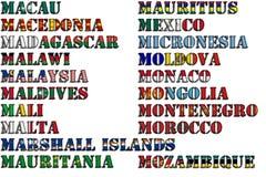 Nombres de país en colores de las banderas nacionales - conjunto completo Letra M Fotos de archivo libres de regalías