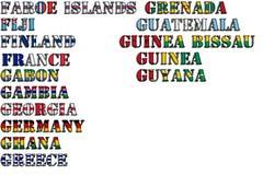 Nombres de país en colores de las banderas nacionales - conjunto completo Letras F, G Foto de archivo libre de regalías