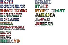 Nombres de país en colores de las banderas nacionales - conjunto completo Letras H, I, J Fotografía de archivo libre de regalías