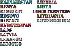 Nombres de país en colores de las banderas nacionales - conjunto completo Letras K, L Imagen de archivo libre de regalías