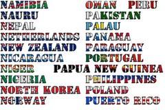 Nombres de país en colores de las banderas nacionales - conjunto completo Letras N, O, P Imagen de archivo libre de regalías