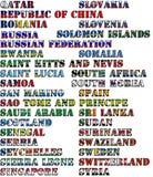 Nombres de país en colores de las banderas nacionales - conjunto completo Letras Q, R, S Imagen de archivo