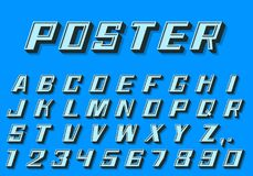 Nombres de police de l'affiche 3d et style de lettres rétro Photo libre de droits